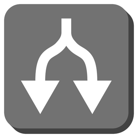 vertical divider: Split Arrows Down vector icon. Image style is a flat icon symbol in a rounded square button, white and gray colors. Illustration