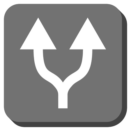 bifurcation: Split Arrows Up vector icon. Image style is a flat icon symbol in a rounded square button, white and gray colors. Illustration