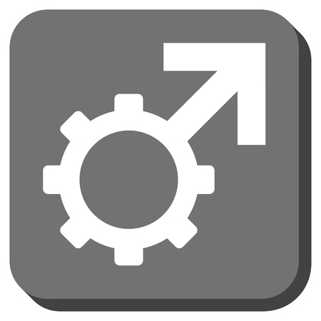 erection: Technological Potence vector icon. Image style is a flat icon symbol in a rounded square button, white and gray colors.