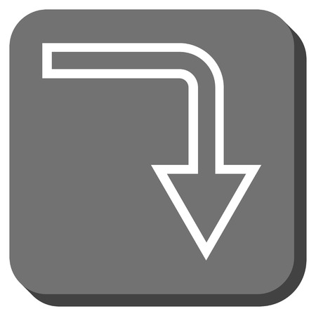 turn down: Turn Down vector icon. Image style is a flat icon symbol in a rounded square button, white and gray colors.