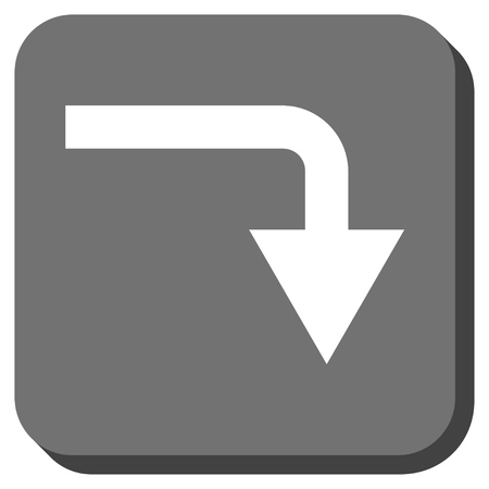 turn down: Turn Down vector icon. Image style is a flat icon symbol on a rounded square button, white and gray colors.