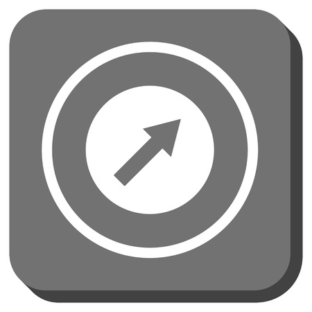 upright: Up-Right Rounded Arrow vector icon. Image style is a flat icon symbol in a rounded square button, white and gray colors.