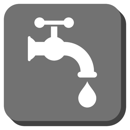 Water Tap vector icon. Image style is a flat icon symbol on a rounded square button, white and gray colors.