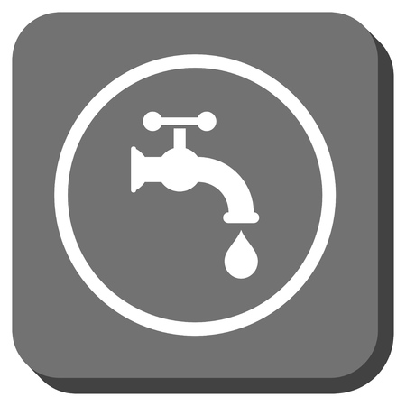 aqueduct: Water Tap vector icon. Image style is a flat icon symbol inside a rounded square button, white and gray colors.