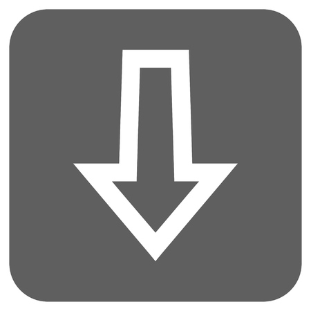 failing: Arrow Down vector icon. Image style is a flat icon symbol inside a rounded square button, white and silver gray colors. Illustration