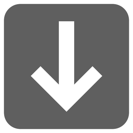 failing: Arrow Down vector icon. Image style is a flat icon symbol on a rounded square button, white and silver gray colors.