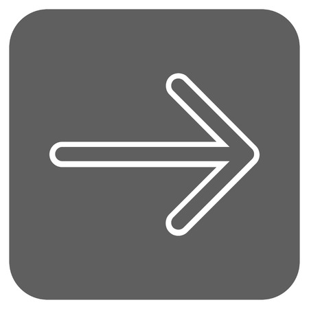 redirect: Arrow Right vector icon. Image style is a flat icon symbol in a rounded square button, white and silver gray colors.