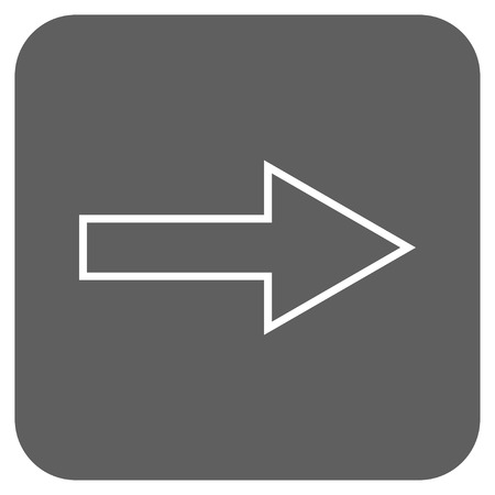 proceed: Arrow Right vector icon. Image style is a flat icon symbol on a rounded square button, white and silver gray colors. Illustration
