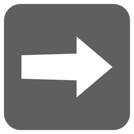 redirect: Arrow Right vector icon. Image style is a flat icon symbol on a rounded square button, white and silver gray colors. Illustration