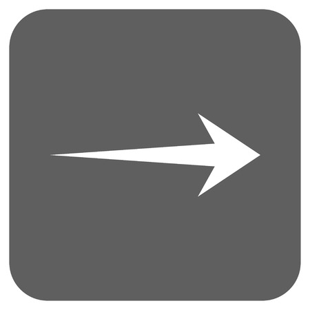 redirect: Arrow Right vector icon. Image style is a flat icon symbol inside a rounded square button, white and silver gray colors. Illustration