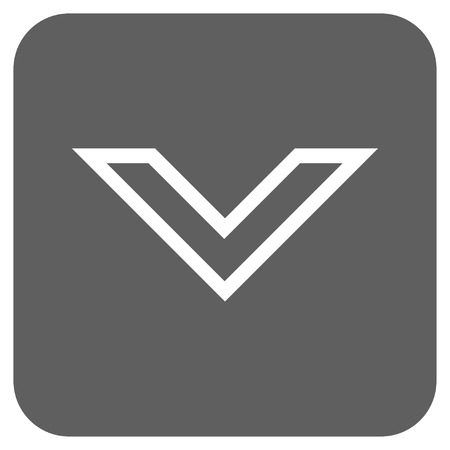 arrowhead: Arrowhead Down vector icon. Image style is a flat icon symbol in a rounded square button, white and silver gray colors.
