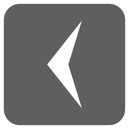 arrowhead: Arrowhead Left vector icon. Image style is a flat icon symbol in a rounded square button, white and silver gray colors.