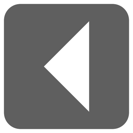 arrowhead: Arrowhead Left vector icon. Image style is a flat icon symbol on a rounded square button, white and silver gray colors.
