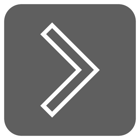 redirect: Arrowhead Right vector icon. Image style is a flat icon symbol in a rounded square button, white and silver gray colors.