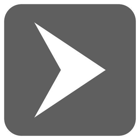 arrowhead: Arrowhead Right vector icon. Image style is a flat icon symbol in a rounded square button, white and silver gray colors.
