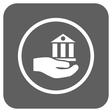silver service: Bank Service vector icon. Image style is a flat icon symbol inside a rounded square button, white and silver gray colors.