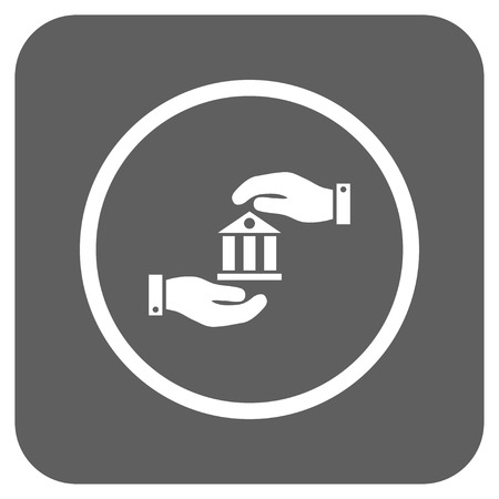 silver service: Bank Service vector icon. Image style is a flat icon symbol on a rounded square button, white and silver gray colors. Illustration