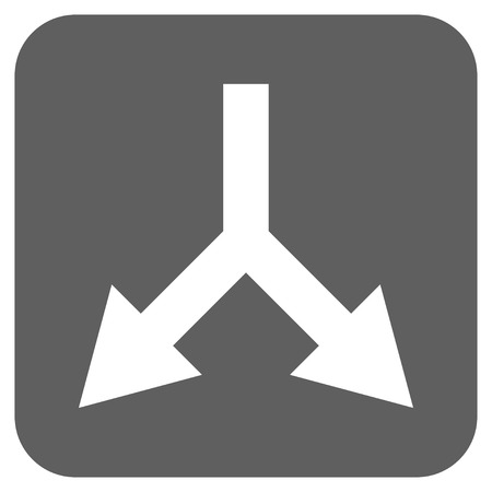 bifurcation: Bifurcation Arrow Down vector icon. Image style is a flat icon symbol on a rounded square button, white and silver gray colors. Illustration