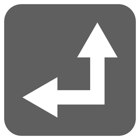 bifurcation: Bifurcation Arrow Left Up vector icon. Image style is a flat icon symbol on a rounded square button, white and silver gray colors.