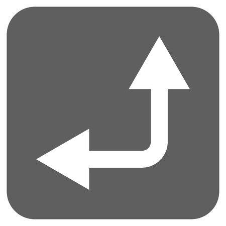 bifurcation: Bifurcation Arrow Left Up vector icon. Image style is a flat icon symbol inside a rounded square button, white and silver gray colors.