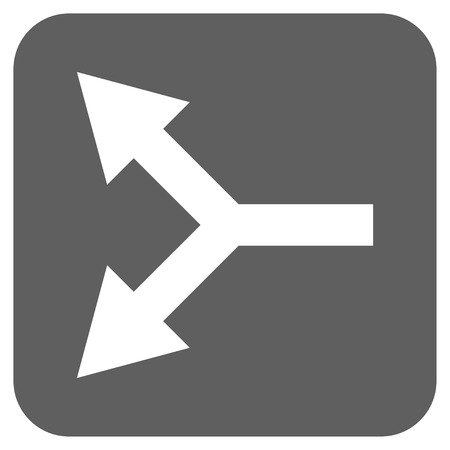 double cross: Bifurcation Arrow Left vector icon. Image style is a flat icon symbol inside a rounded square button, white and silver gray colors.