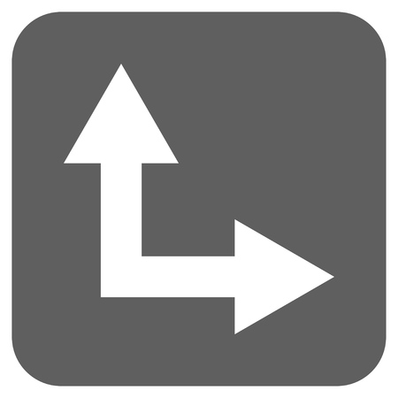 bifurcation: Bifurcation Arrow Right Up vector icon. Image style is a flat icon symbol inside a rounded square button, white and silver gray colors.