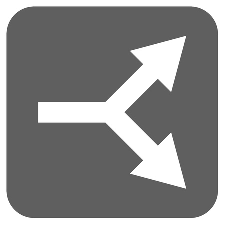 bifurcation: Bifurcation Arrow Right vector icon. Image style is a flat icon symbol inside a rounded square button, white and silver gray colors.