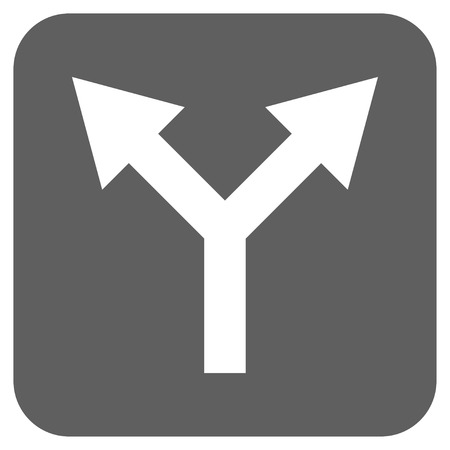 bifurcation: Bifurcation Arrow Up vector icon. Image style is a flat icon symbol inside a rounded square button, white and silver gray colors.
