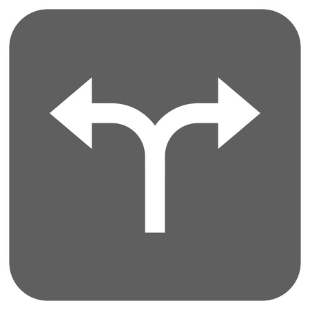 bifurcation: Bifurcation Arrows Left Right vector icon. Image style is a flat icon symbol in a rounded square button, white and silver gray colors.