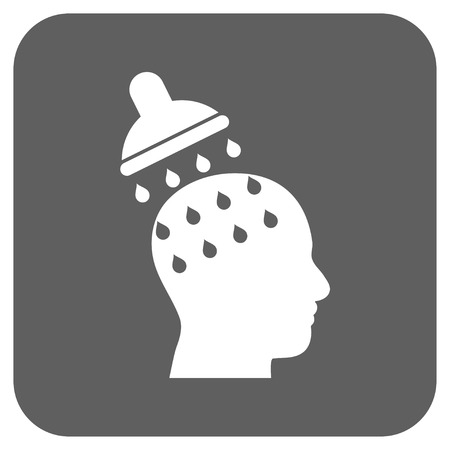 under control: Brain Washing vector icon. Image style is a flat icon symbol on a rounded square button, white and silver gray colors.