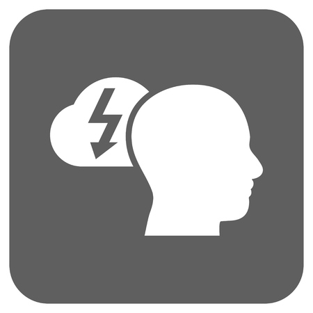 headaches: Brainstorming vector icon. Image style is a flat icon symbol in a rounded square button, white and silver gray colors. Illustration
