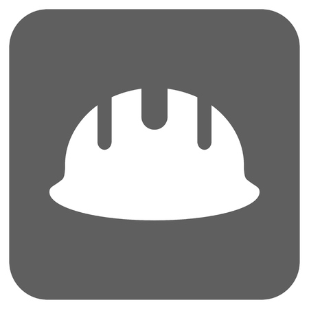 hardhat: Builder Hardhat vector icon. Image style is a flat icon symbol inside a rounded square button, white and silver gray colors. Illustration