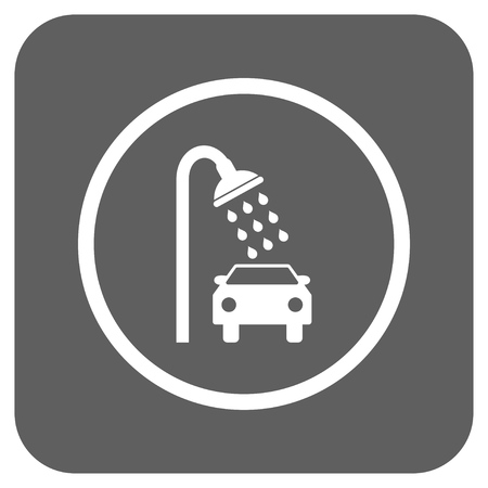 sanitize: Car Shower vector icon. Image style is a flat icon symbol in a rounded square button, white and silver gray colors.