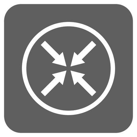 shrink: Center Arrows vector icon. Image style is a flat icon symbol on a rounded square button, white and silver gray colors. Illustration