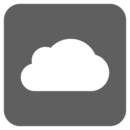 saas: Cloud vector icon. Image style is a flat icon symbol on a rounded square button, white and silver gray colors. Illustration