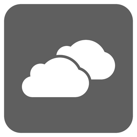 saas: Clouds vector icon. Image style is a flat icon symbol on a rounded square button, white and silver gray colors.