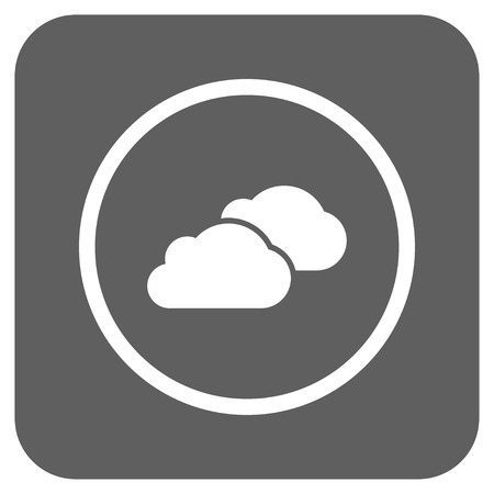 saas: Clouds vector icon. Image style is a flat icon symbol in a rounded square button, white and silver gray colors.