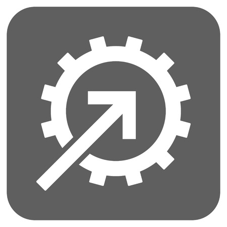 joining services: Cog Integration vector icon. Image style is a flat icon symbol inside a rounded square button, white and silver gray colors. Illustration