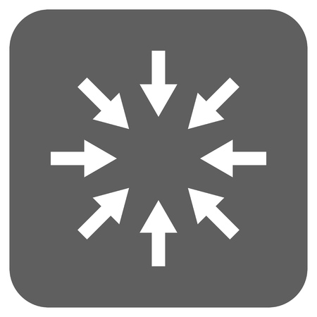 clash: Compact Arrows vector icon. Image style is a flat icon symbol inside a rounded square button, white and silver gray colors.