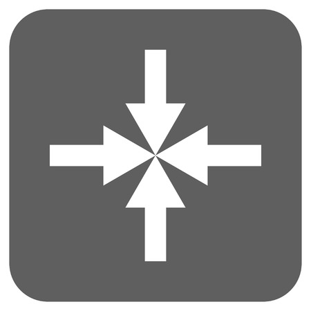 clash: Compress Arrows vector icon. Image style is a flat icon symbol in a rounded square button, white and silver gray colors.