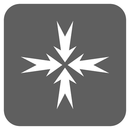 compression: Compression Arrows vector icon. Image style is a flat icon symbol in a rounded square button, white and silver gray colors.