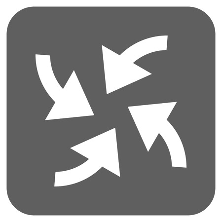 outward: Cyclone Arrows vector icon. Image style is a flat icon symbol in a rounded square button, white and silver gray colors.