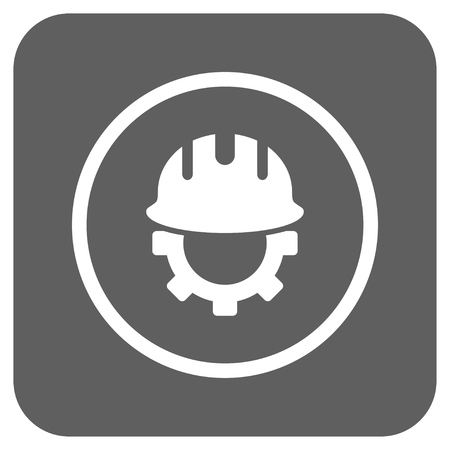 hardhat: Development Hardhat vector icon. Image style is a flat icon symbol on a rounded square button, white and silver gray colors. Illustration