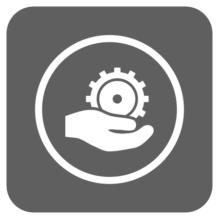 silver service: Development Service vector icon. Image style is a flat icon symbol inside a rounded square button, white and silver gray colors.