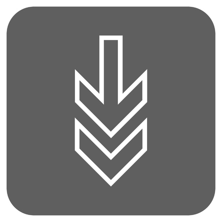 redirect: Direction Down vector icon. Image style is a flat icon symbol on a rounded square button, white and silver gray colors. Illustration