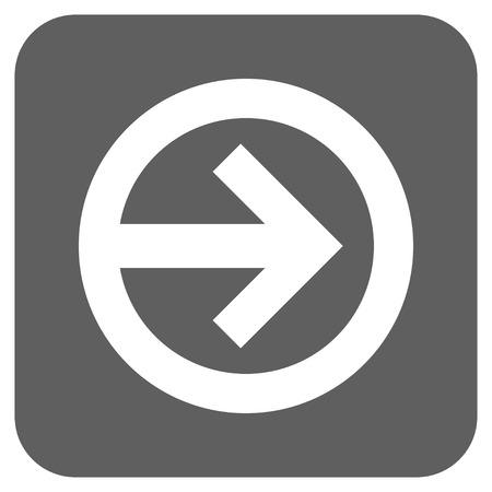 Richtung rechts Vektor Icon. Bildstil ist ein flaches Symbol Symbol in einem abgerundeten Quadrat-Taste, weiß und silbergraue Farben.