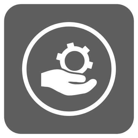 silver service: Engineering Service vector icon. Image style is a flat icon symbol in a rounded square button, white and silver gray colors. Illustration