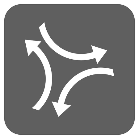 revolve: Exchange Arrows vector icon. Image style is a flat icon symbol on a rounded square button, white and silver gray colors. Illustration
