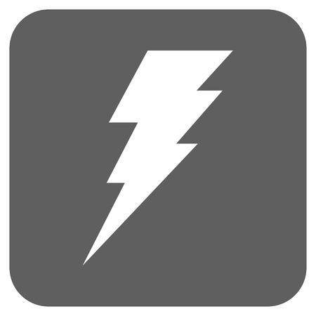 execute: Execute vector icon. Image style is a flat icon symbol on a rounded square button, white and silver gray colors.