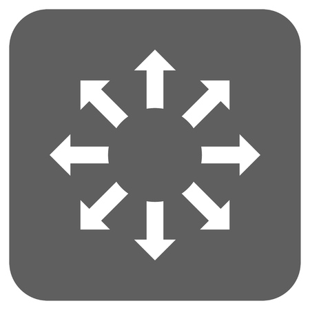 Expand Arrows vector icon. Image style is a flat icon symbol in a rounded square button, white and silver gray colors. Illustration